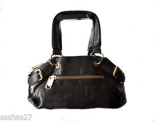 Image Is Loading Linea Pelle Leather Satchel Tote Bag Black