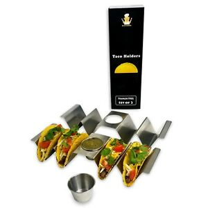 SALE-Bear-Dining-Premium-Stainless-Steel-Taco-Holder-with-Sauce-Cup-Set-of-2