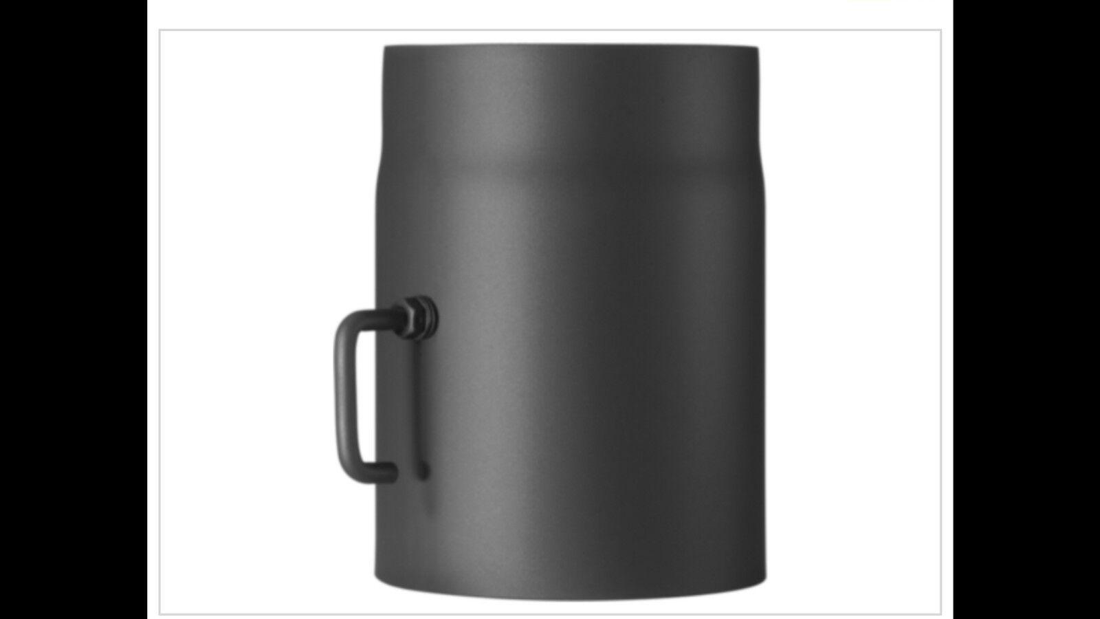 Möck Primus 150 mm  Rohr mit Drosselklappe doppelwandig gedämmt schwarz metallic