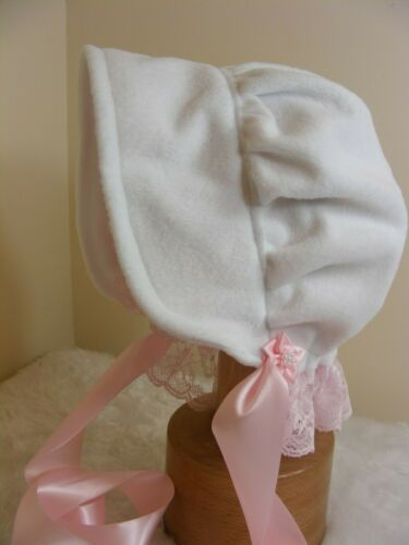 ADULT BABY SISSY BONNET soft white fleece COSPLAY  LOLITA FANCY DRESS ROll PLAY