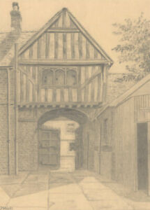 J. Wash - Early 20th Century Graphite Drawing, The Tudor Courtyard