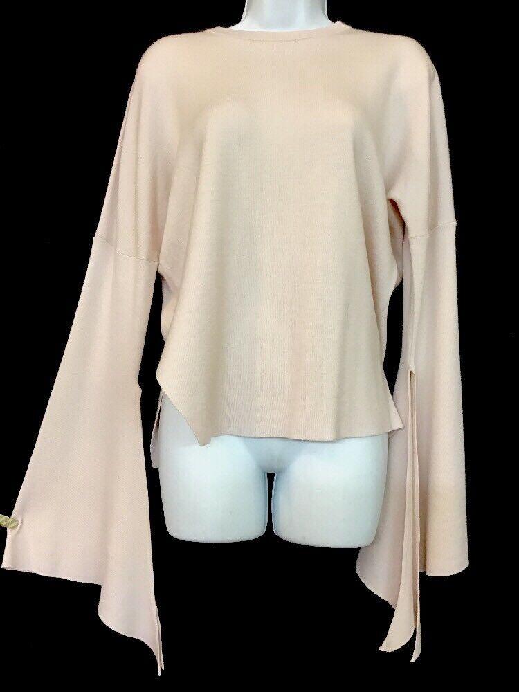 Tibi Long Sleeve Blaush Wool Knit Split Wide Cuff Nwt  XS