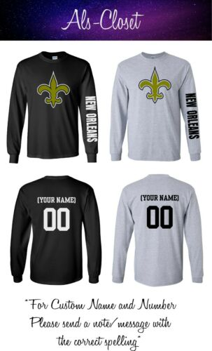 New Orleans Saints Logo Football Long Sleeve Shirt with Custom Name