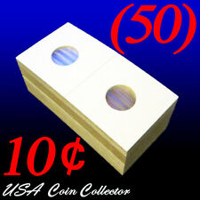 (50) Dime Size 2x2 Mylar Cardboard Coin Flips for Storage | 10 Cent Paper Holder