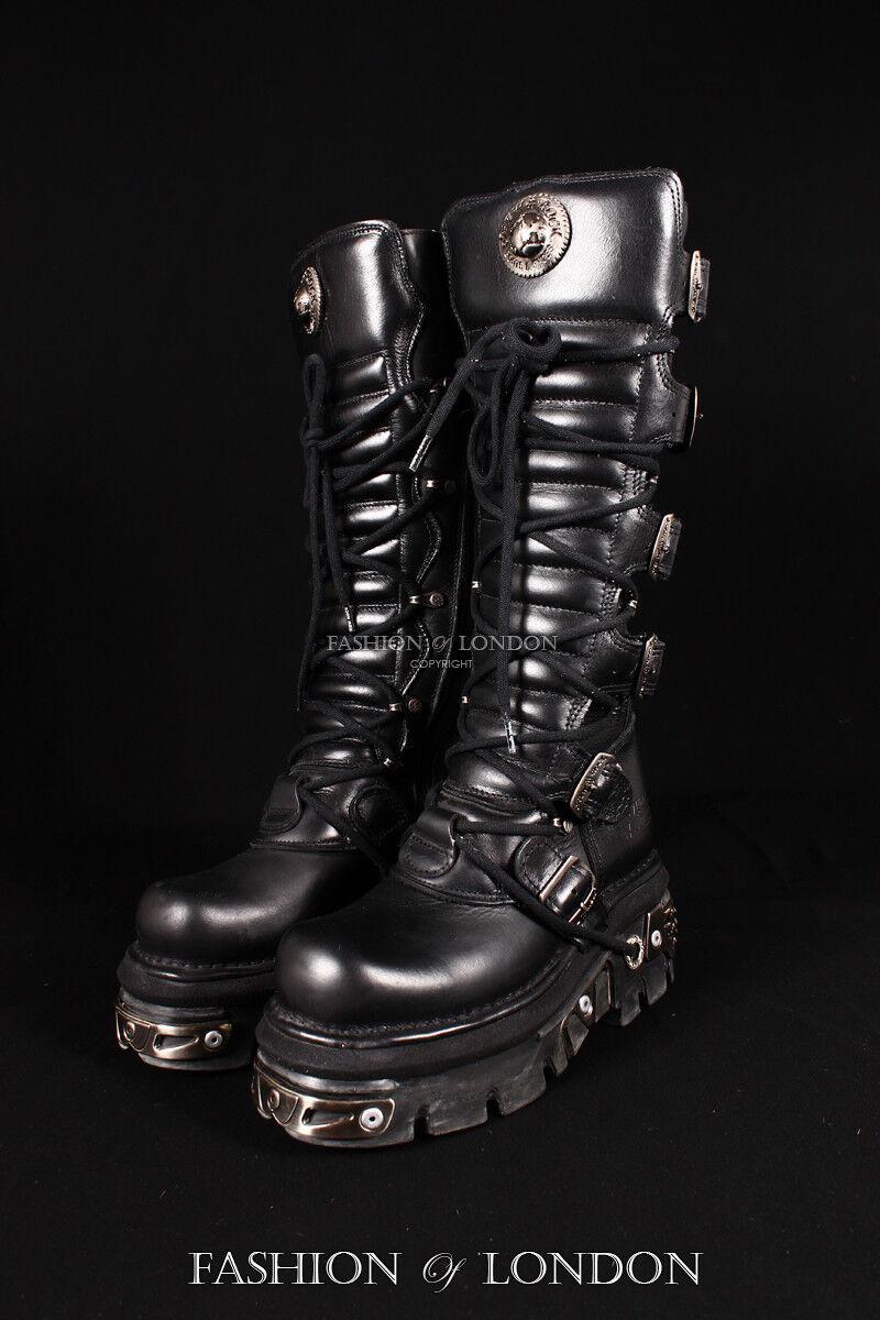 Unisex Nuevo Rock 272-S1 Negro Metálico Largo Hasta Hasta Hasta La Rodilla Cuero Goth Punk Biker botas 8ddb57