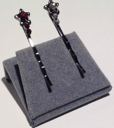brillant rubinrot wählbar Haarspange 2 x Haarklemme Stern mit Strass-Steinen