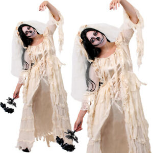 15a5cb3059 Details about DELUXE LADIES ZOMBIE GHOST BRIDE CORPSE WHITE FANCY DRESS  HALLOWEEN WEDDING LOT