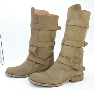 aab9f6d7c57 Details about Steve Madden Buck Women's Suede Belted Biker Riding Boots  Triple Buckle Sz 10 M