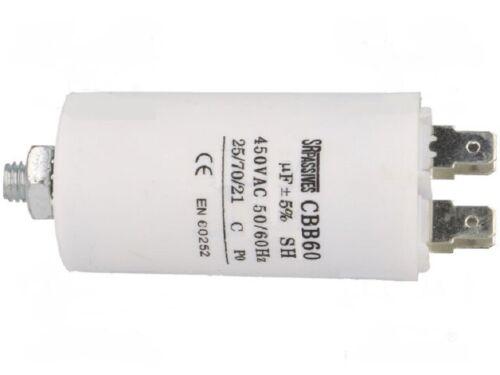 démarrage moteur  6uF 450v 4 cosses vis de fixation condensateur permanent