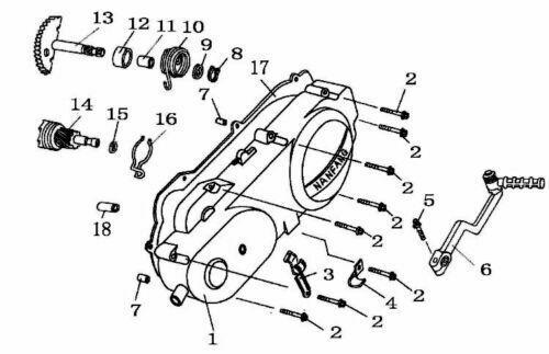STARTER BENDIX BUSHING GOES BETWEEN BENDIX AND BELT COVER FOR 50cc QMB139 MOTORS