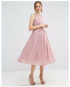 low priced 9011a 04089 Dettagli su Vestito ASOS donna, abito midi da cerimonia, rosa carne, taglia  IT 44, nuovo