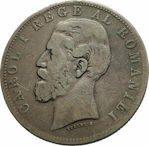 1881-ROMANIA-with-KING-CAROL-I-amp-Shield-Large-Genuine-Silver-5-Lei-Coin-i76053