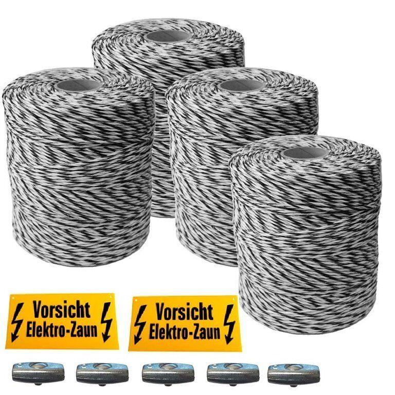 1600 m Weidezaunlitze ca 3 mm 6 starke 0.25 mm AL-Leiter für lange Zäune TOP