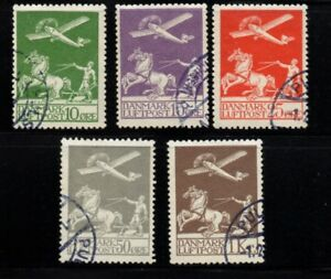 Denmark-Sc-C1-5-1925-1929-1st-airmail-stamp-set-used-Free-Shipping