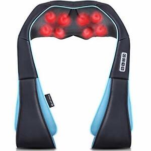 Neck Shoulder & Back Heating Massager with 8 Deep Tissue Kneading Nodes