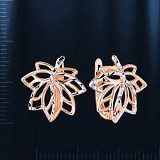 Russische Rose Rotgold 585  Ahornblatt Blatt BICOLOR Ohrringe LEAF EARRINGS