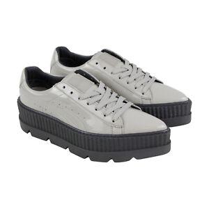 Détails sur Puma Pointy Creeper Rihanna Fenty baskets de pour femmes cuir verni gris