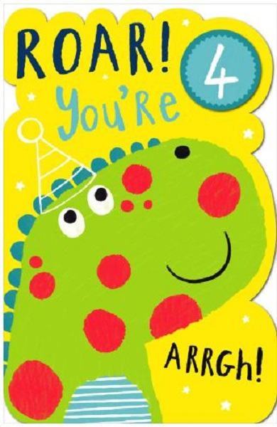 Boys Happy 4th Birthday Greeting Card With Badge Age 4 Uk Greetings Cards For Sale Online Ebay