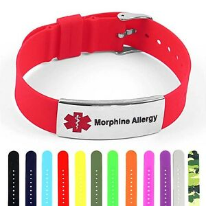 Details about IDtagged Silicone Medical Alert Morphine Allergy Polished  Steel Tag ID Bracelet