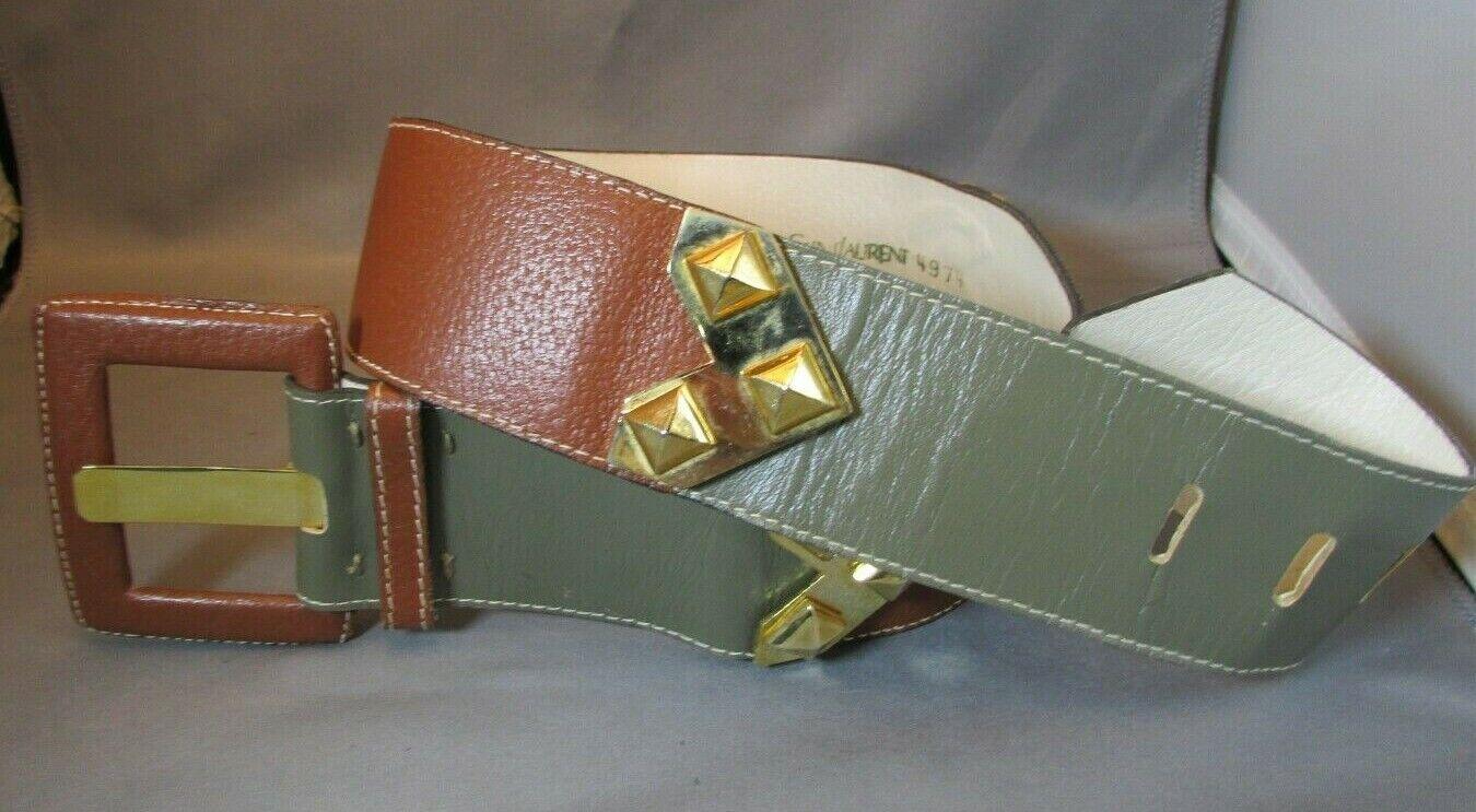RARE 1980's YVES SAINT LAURENT Brass Leather Belt TAN/GREY-GREEN Med 29