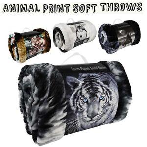 Faux Fur Throw Double King Size Blanket Animal Print Mink Sofa Bed Fleece Large