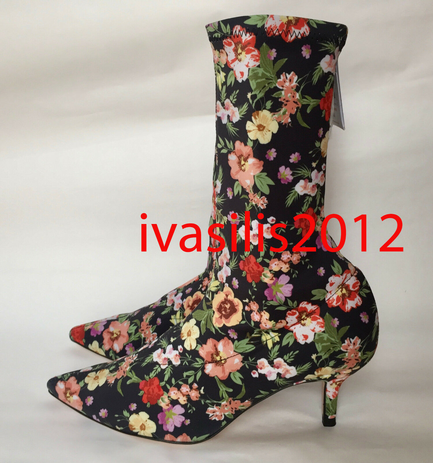 ZARA FLORAL FABRIC HIGH HEEL ANKLE BOOTS 35-41 REF. 1113/201