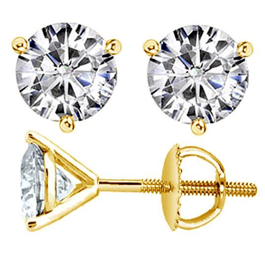 0.34 CT 100% Natural Round-Cut Martini Diamond Studs in 14k Yellow gold New