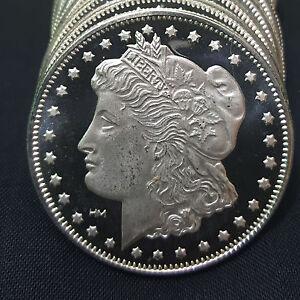 Qw9 1 Oz Silver Round Morgan Dollar Design 999 Pure