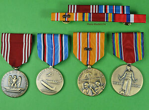 4-WWII-Army-Medals-amp-Ribbon-Bar-for-Service-in-the-Pacific-Philippines-WW2