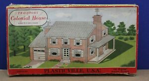 Plasticville-1700-O-Two-Story-House-Kit-LNIB-Complete-White-sides-Green-Roof-50s