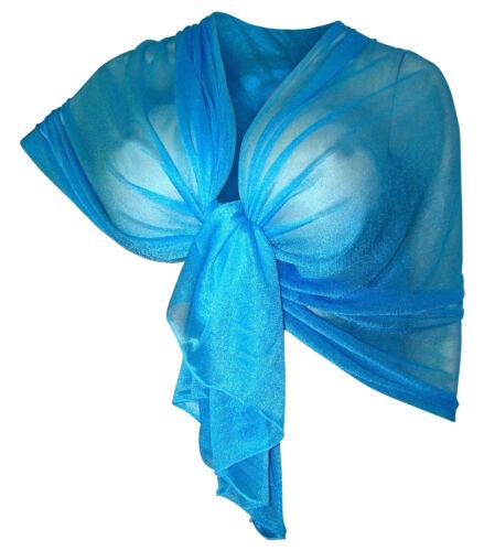 Elegante SCIARPA Scialle Glitter Brillante Foulard,da Donna Ragazza Coprispalle