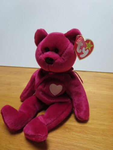PE Pellets 1999 Valentine bear Ty Beanie Babies Valentina Mint w// Tag