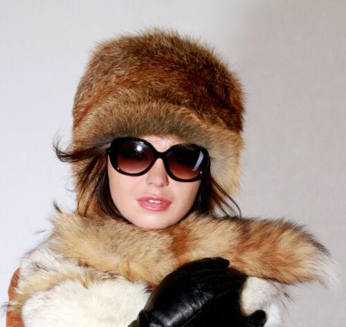 Hat Fox Coat Fur Red Tail Brown Nuovo con Fur Noble Fox Red Fox Fur CqBRxT1