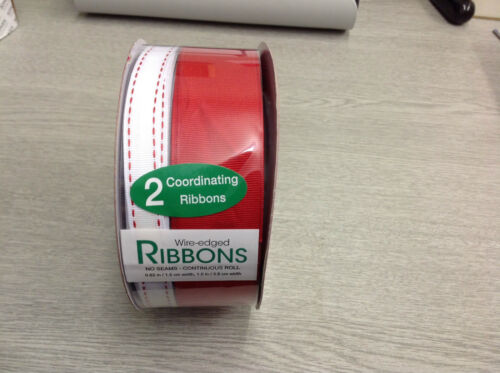 1m of each CHRISTMAS WIRE EDGED RIBBON RED /& WHITE