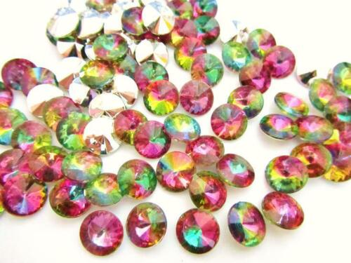 100 Multi-Color Acrylic Rhinestone Jewel 12mm Bicone Shape//Craft//Accent//bead E31