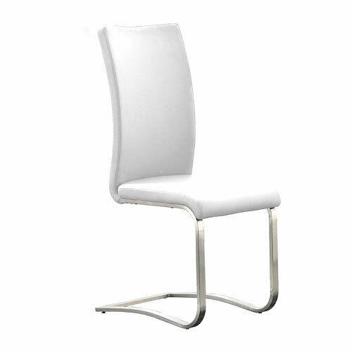 Stuhl Arco 6er Set Freischwinger Stühle in Echtleder Weiß und Edelstahl