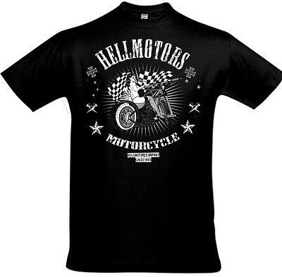 Biker T-Shirt Hotrod Hellbike Hellmotors Oldschool Skull Chopper Motorrad Pinup