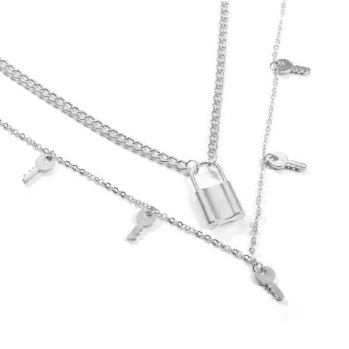 Punk Double-layer Lock Padlock Key Pendant Chain Necklace Women Hip Hop Jewel SP