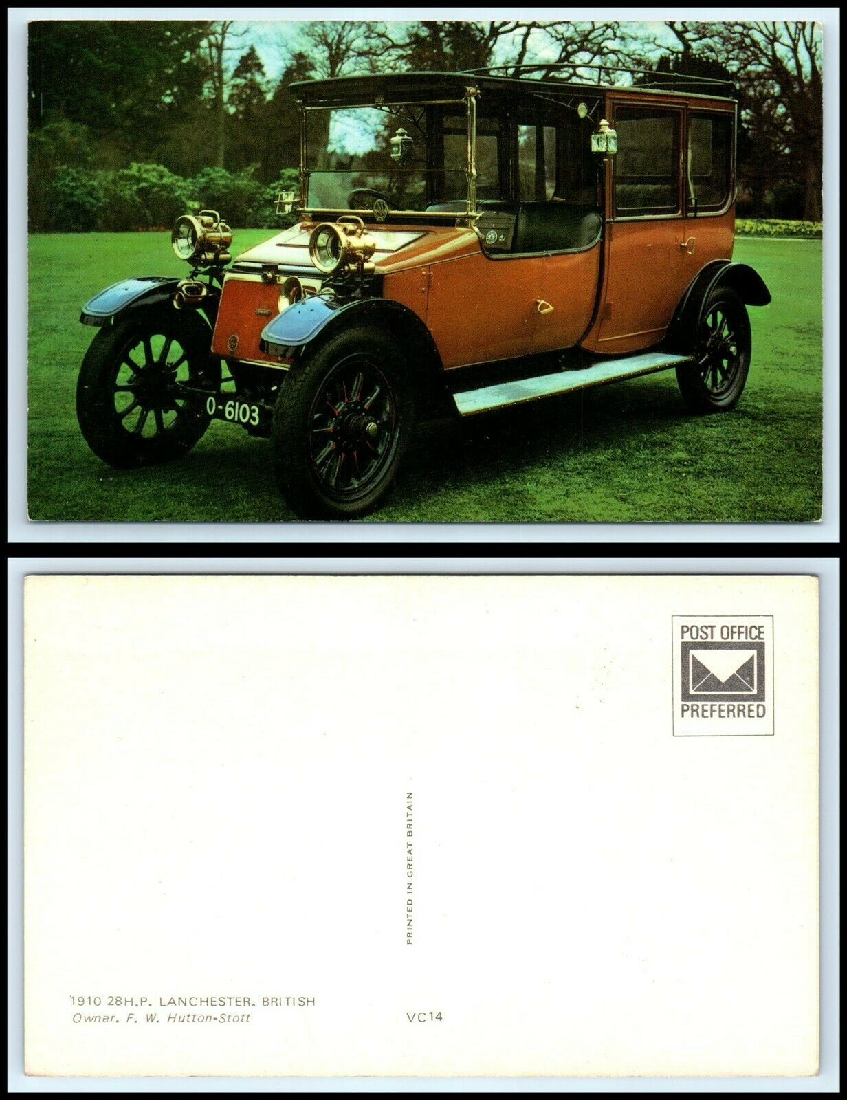 Vintage CAR AUTOMOBILE Postcard 1900 Rockwell Hansom Cab F37
