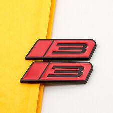 2pcs Black Amp Red Metal Roush Stage 3 Car Trunk Emblem Decal Sport Fender Badge Fits Focus