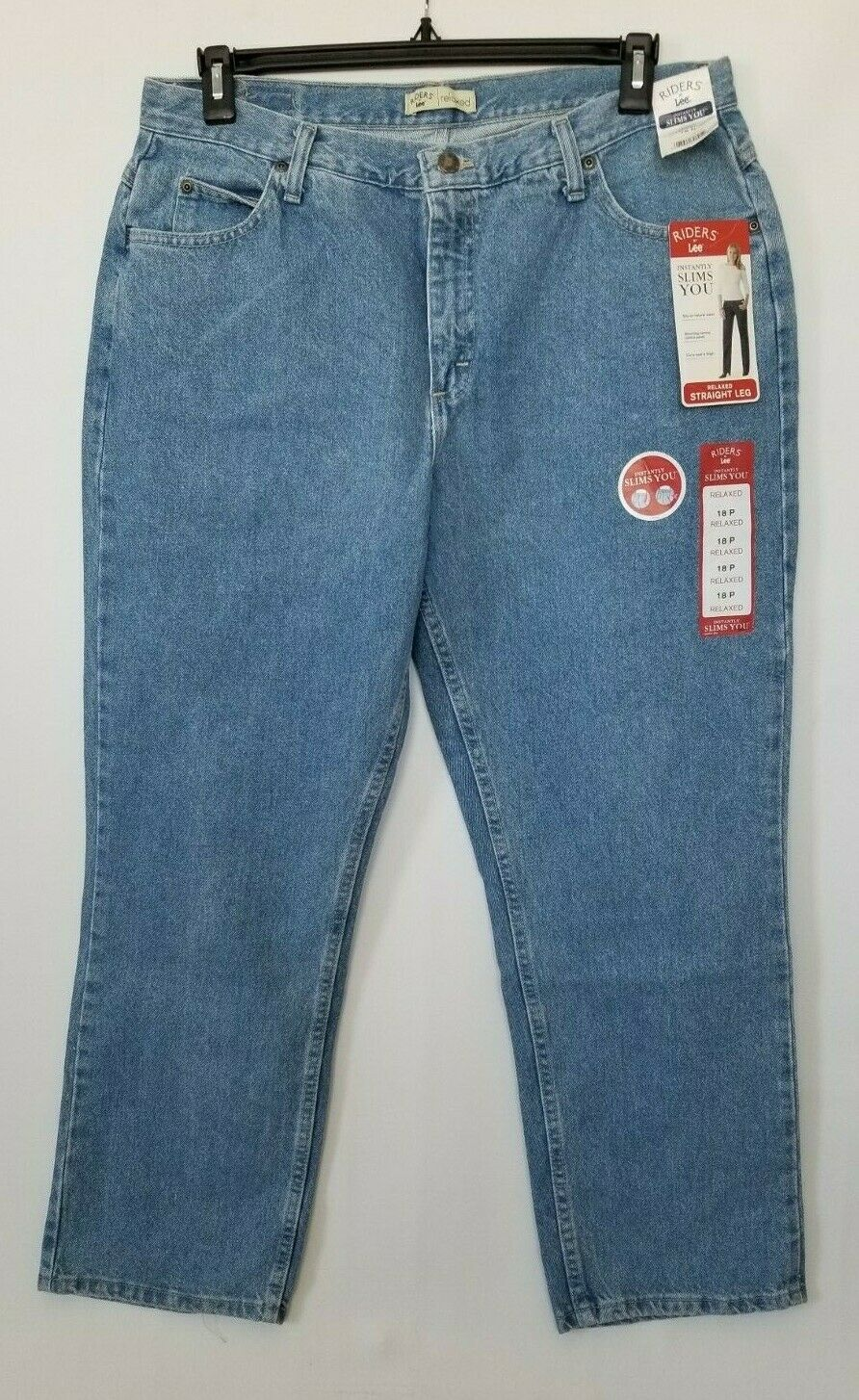 Lee Riders Jeans Relaxed Fit Straight Leg Womens Classic Stone Slimming Size 18P