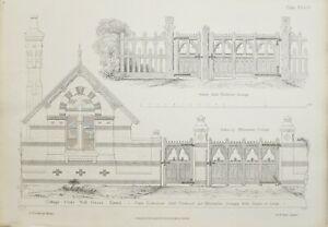 1868-Architektonisch-Aufdruck-Huette-Orne-Muehle-Gruen-Essex-Eingang-Tor-Fachwerk