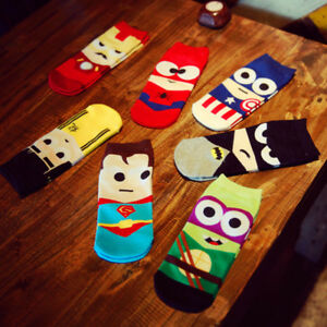 Men-Marvel-Heros-Boat-Socks-Superman-Batman-Captain-Funny-Cotton-Happy-Socks