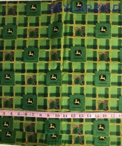 2Yds-John-Deere-Xmas-Holly-Ribbon-Plaid-Cotton-Flannel-Fabric-FREE-SHIP
