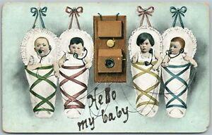 MULTIPLE-BABIES-HELLO-BABY-ANTIQUE-POSTCARD-TELEPHONE-PIONEERS-OF-AMERICA