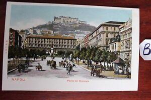 Carte Postale Vue Carte Italie Lithographie Piazza Del Municipio-afficher Le Titre D'origine Doux Et Doux