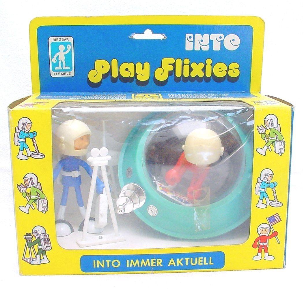 Biegbar flexible figur spielen flixies 2 astronaut space ufo - geschenkset mib '75 selten