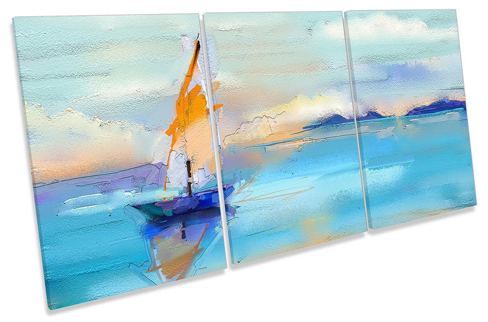 Blau Sail Boat Sea Repro CANVAS Wand KunstWORK TREBLE Drucken Kunst