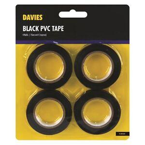 3 Rolls Black PVC insulation Tape 18mm x 10m Each DIY Electrical uk free postage