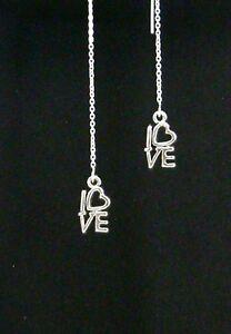 IAJ-STACKED-034-LOVE-034-STERLING-SILVER-Ear-Thread-Threader-Earrings